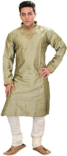 Exotic India Basil-Green Wedding Kurta Pajama with Embr Size 40 by Exotic India