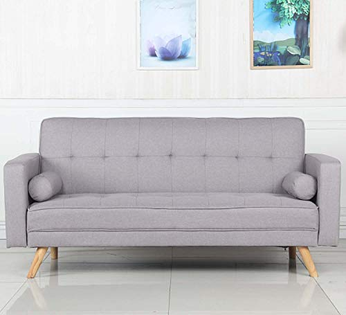 Menzzo Canapé Convertible scandinave Slow Lit, Polyester, Gris Clair, 186 x 75 x 89 cm