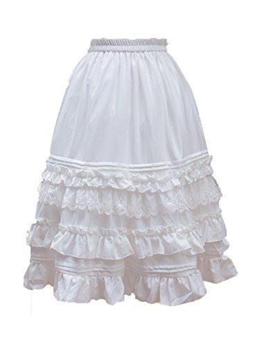 Nuoqi Women's 50s Petticoats Sweet Lolita Dress Lace Tutu Swing Skirts (White-26.8 inch)
