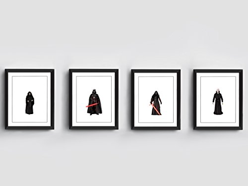 Star Wars Dark Side | Set of 4 Art Prints | 10 x 8 inches | Emperor Palpatine | Darth Vader | Kylo Ren | Snoke | Hand Drawn Illustration