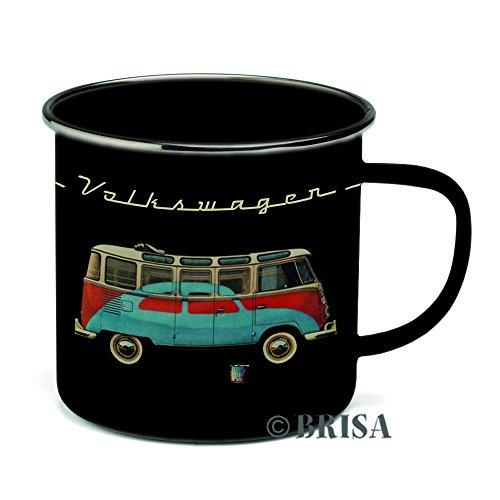 VW Collection by BRISA VW T1 Camper Bus Enamel Coffee Mug, Samba & (Enamel Beetle)