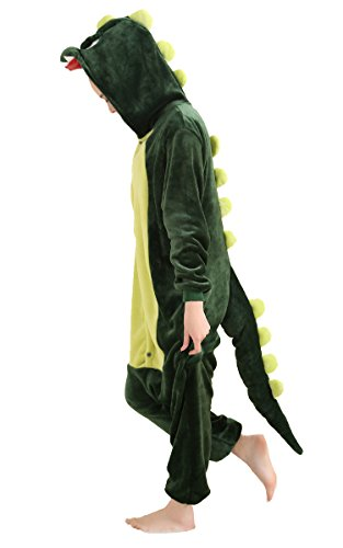75 Off Halloween Costumes (AooToo Womens Unisex Cosplay Dinosaur Flannel Halloween Animal Costume Pajamas(Green, XL))