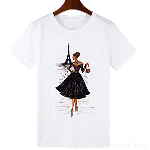 Cap Sleeve Tee Vintage Vogue Printing T Shirt Summer Fashion Casual Tops S