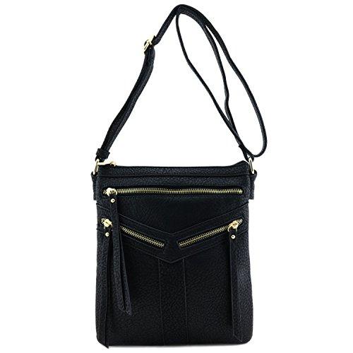 Bag with Zipper Black Accent Compartment Double Crossbody BEqw6av