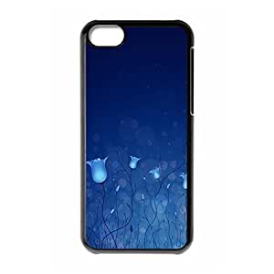 Cool Case for iphone 5C Blue Flowers Case Cover For iphone 5C (Black 102148)