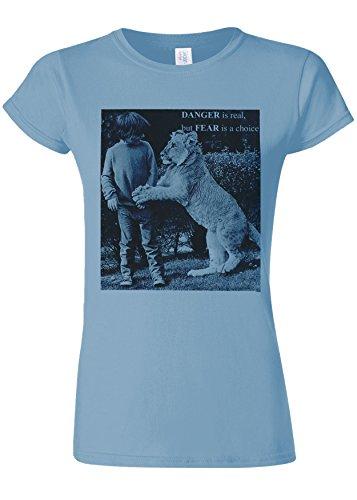 下るボイラー憂慮すべきDanger is Real Fear is Choice Lion Kid Novelty Light Blue Women T Shirt Top-L