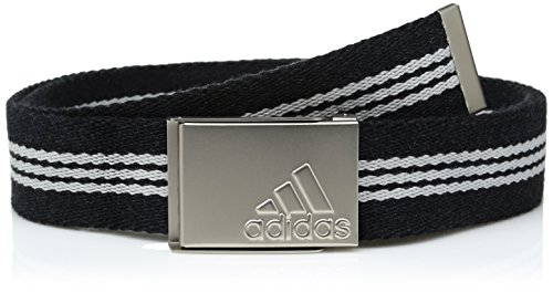 Adidas Webbing Belt - adidas Golf Stripe Webbing Belt, Black/Mid Grey S14, One Size