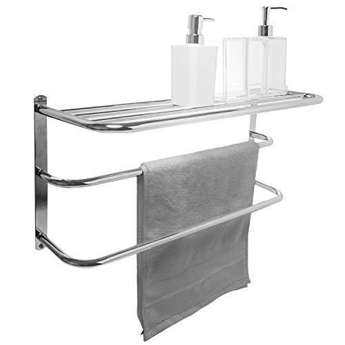 (MyGift Wall Mounted 2 Bar Towel Rack & Storage Shelf, 3 Tier Chrome Plated Bathroom Organizer)