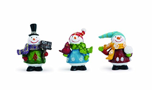 Bundled Up Winter Snowman Friends 2 Inch Resin Christmas Tabletop Figurines Set of 3
