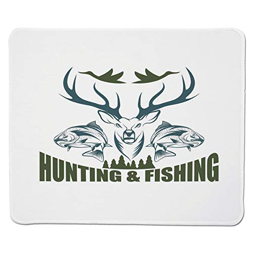 SCOCICI Gaming Locking Mouse Pad,Artistic Emblem Moose Horns Trout Salmon Sea Fishes Decorative Customized Rectangle Non-Slip Rubber Mousepad Gaming Mouse Pad 11.8