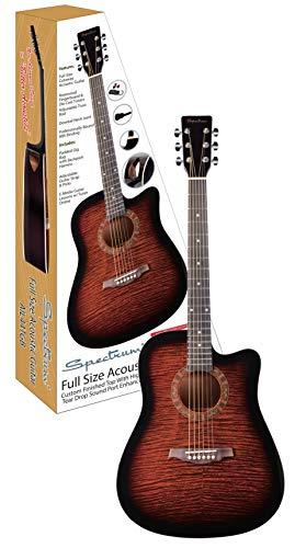 Spectrum AIL 44TGB Full Size Brindled Acoustic Guitar with Bonus Gig Bag, Brown