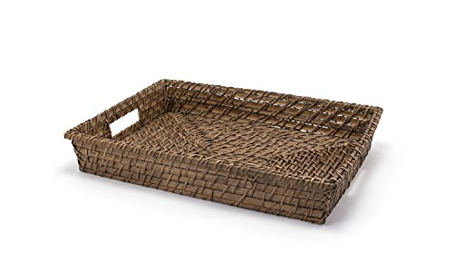Front of the House BPT018BRW22 Rustic Chic Rectangle Rattan Tray, 2.5'' Height, 11'' width, 14.5'' Length, Brown (Pack of 6) by Front of the House