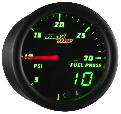 MaxTow Double Vision 30 PSI Fuel Pressure Gauge Kit - Includes Electronic Sensor - Black Gauge Face - Green LED Illuminated Dial - Analog & Digital Readouts - for Diesel Trucks - 2-1/16