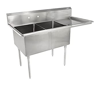 John Boos E Series Stainless Steel Sink, 12u0026quot; Deep Bowl, 2 Compartment,