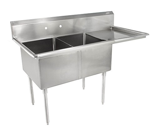 John Boos E Series Stainless Steel Sink, 12'' Deep Bowl, 2 Compartment, 18'' Right Hand Side Drainboard, 52-1/2'' Length x 25-1/2'' Width by John Boos