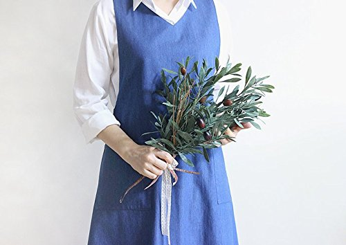 cozymomdeco Chef Works Handmade Apron Japanese Cross Lap Style Natural Linen Apron-Blue Color