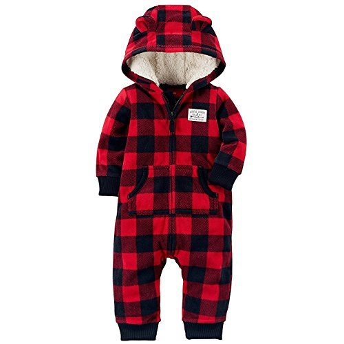 Carter's Baby Boys' One Piece Checker Print Fleece Jumpsuit 12 Months,12 Months,Red/Black Plaid