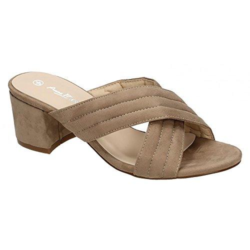 Anne Michelle - Zapatos con tiras en forma de X en el empeine y tacón medio para mujer Azul marino