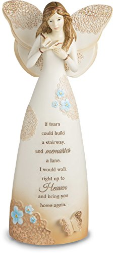 Pavilion Gift Company Light Your Way Memorial - Sympathy Angel Figurine Holding Butterfly 9 Inch -