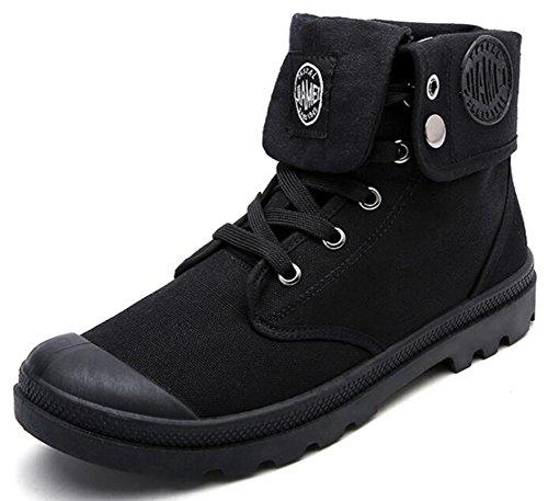 Idifu Mens Casual Tacco Piatto Con Lacci E Allacciatura Sneakers Alte Alla Caviglia Stivali Di Tela Neri