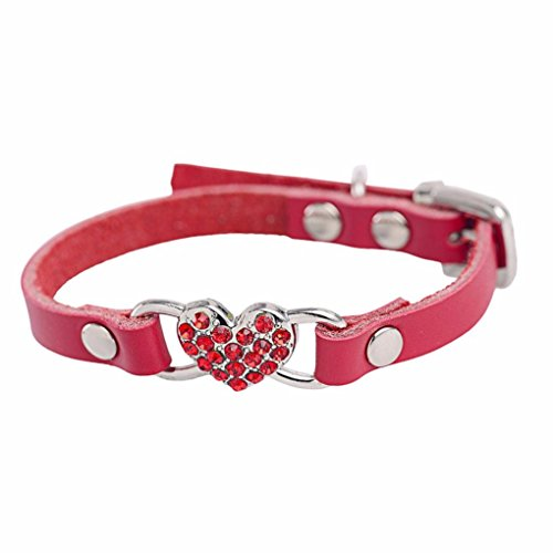 haoricu Doggy Collar, Small Dog Pet Puppy Cat Collar Rhinestone Crystal Necklace Jewelry Collar for Dog Collar Chiens Colliers Heart Leather XXS (S, Red)