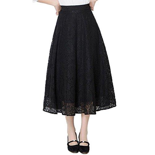 GZZ Jupe en Dentelle d't, Jupe plisse Longue Jupe, Jupe Taille Haute a-Ligne, Jupe Noire des Femmes 82cm