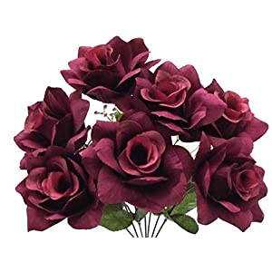 "2 Bushes Burgundy Open Rose Artificial Silk Flower 15"" Bouquet 7-039 BU 39"