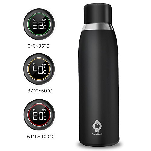 Bottle Water Hydracoach (PYRUS Smart Water Bottle Cup Drinking Container Instant Temperature Display & Warning with LCD Touch Screen Ideal for Running Office Home Gym Yoga Camping Outdoors)