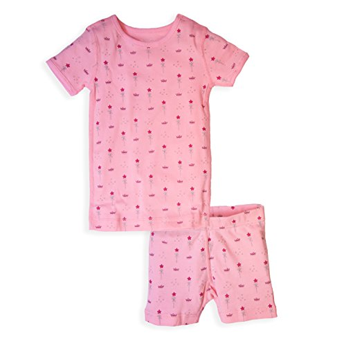 Skylar Luna Girls Short Sleeve Fairytale Print Pajamas Set- 100% Organic Cotton 3T