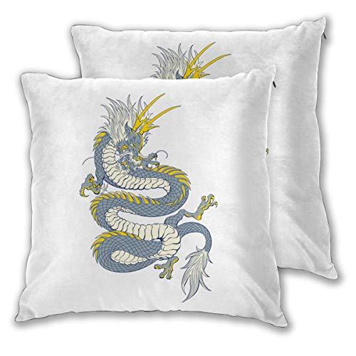 Diemeouk Throw Square Pillows Set of 2,Cushion Dragon Cover,Soft Decorative Case for Sofa Bedroom Indoor Outdoor (Dragon Age 2 Or Dragon Age Origins)