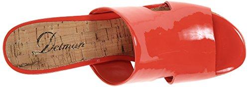 Delman Viva Donna US 8 Rosso Sandalo con la Zeppa