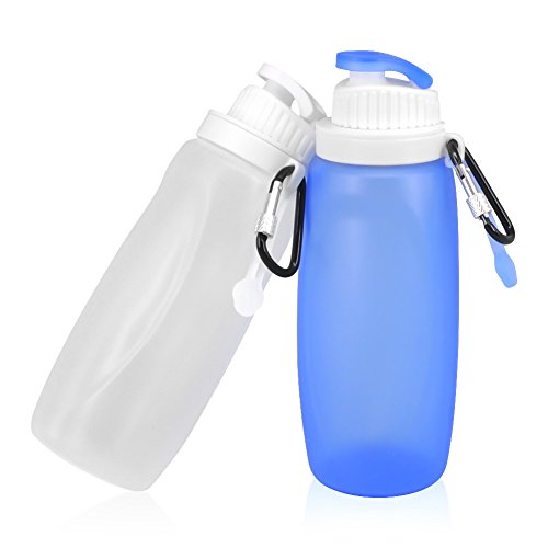 Collapsible Water Bottles Outdoor Travel bottle Set for Kids BPA Free FDA approved Leak Proof Foldable Silicone Water Containers for Climbing Camping Hiking Fishing Set of 2
