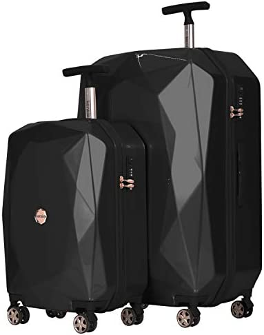 "kensie Women's 3D Gemstone TSA Lock Hardside Spinner Luggage, Black, 2 Piece Set (28""/20"")"