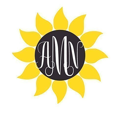 Amazoncom Sunflower Monogram Letter Monogram Decal - Monogram car decal amazon