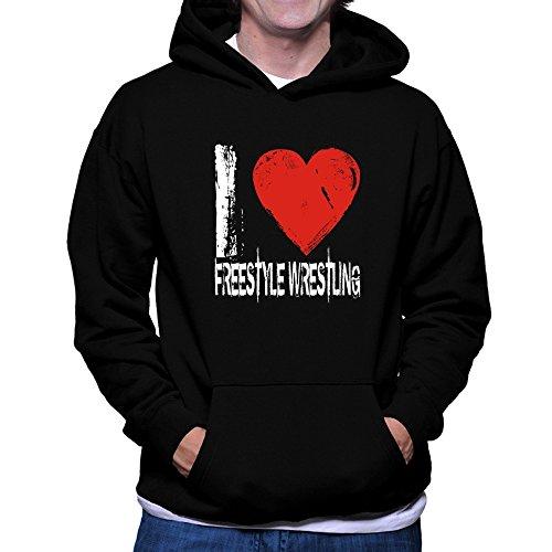 Teeburon I LOVE Freestyle Wrestling Hoodie