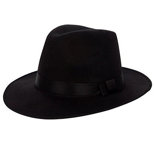 Aerusi Unisex Vintage Wool Felt Wide Brim Outback Fedora Safari Hat (Black)