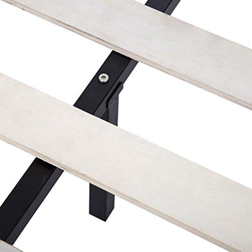 BestMassage King Size Wooden Slat Edge Platform Metal Bed Frame Mattress Foundation