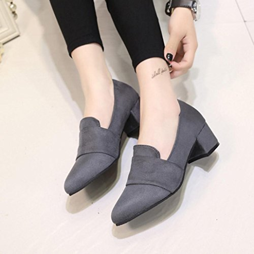 hunpta Women's Spring Casual Shoes Frosted Faux Suede Pointed Toe Shallow Shoes Gray ZCO2XiHwh