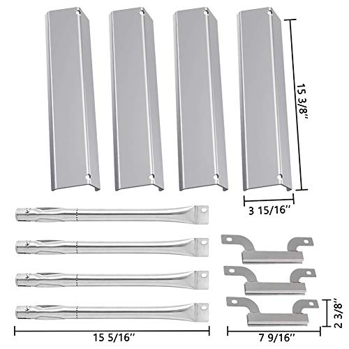 (SHINESTAR Grill Replacement Parts Brinkmann 4 Burner Grill 810-1420-0, 810-1470, Stainless Steel BBQ Heat Shield Plate Tent Flame Tamer & Crossover Carry Over Burner &Straight Burner Tube Pipe Kit)