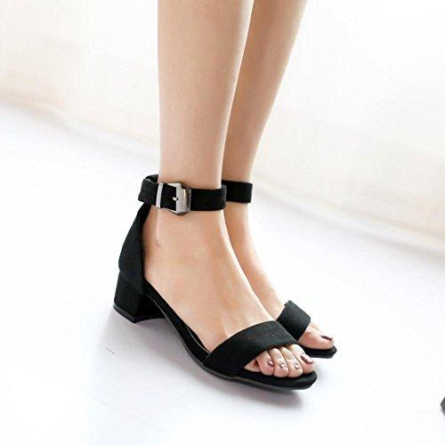 COOLCEPT Mujer Moda Chunky Heel Strappy Sandalias Chicas Colegio Punta Abierta Zapatos Negro