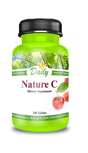 Daily Manufacturing Nature C 200mg Vitamin C from Acerola Cherries Vitamin C Complex Dietary Supplement, 100 Tablets (1)