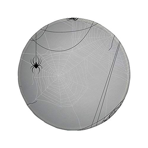 Non-Slip Rubber Round Mouse Pad,Spider Web,Spiders Hanging from Webs Halloween Inspired Design Dangerous Cartoon Icon Decorative,Grey Black White,7.87