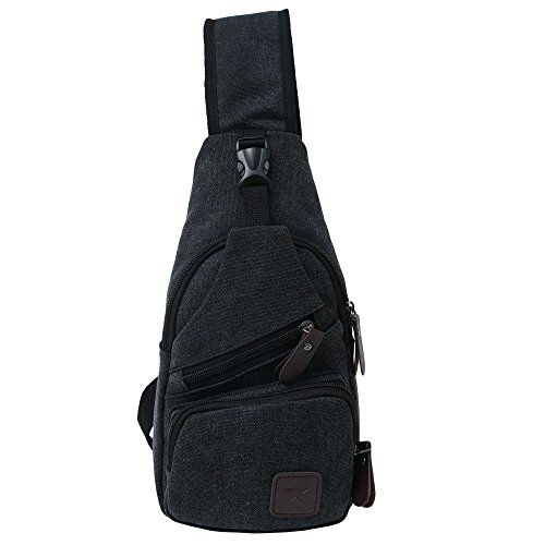 (Canvas Chest Pack Crossbody Casual Sling Shoulder Bag(502) (black) )