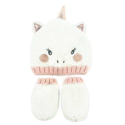 ly Novelty Pink Unicorn Costume Beanie Hat with Mitten Glove Set for 6-9 Months Baby ()