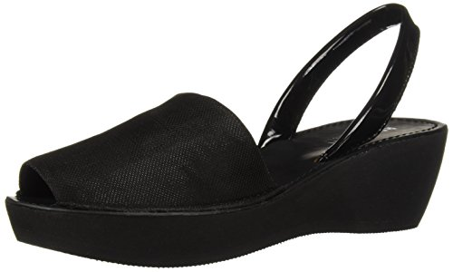 Kenneth Cole REACTION Women's Fine Glass Wedge Sandal with Backstrap, Black Stretch Metallic 7.5 M US