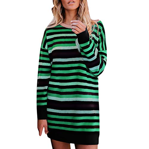 liuxuelifg3 Women Mini Dress Casual Stripe Long Sleeve Party Dresses O-Neck Skirts