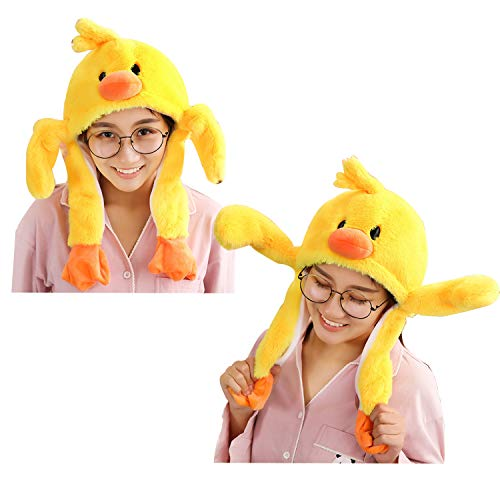 Duck Hat Ear Moving Easter Costume Hat Funny Plush Animal Hat Cap for Women Girls (Duck) ()