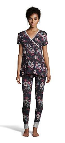 LAMAZE Intimates Womens Maternity Short Sleeve Shirt and Skinny Leg Pajama Pants Set Deep Navy Small