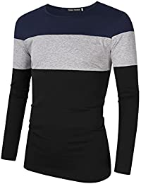 "<span class=""a-offscreen"">[Sponsored]</span>Men's Casual Breathable Tops Contrast Color Stitch Striped Crew Neck Slim Fit Long Sleeve T Shirts"