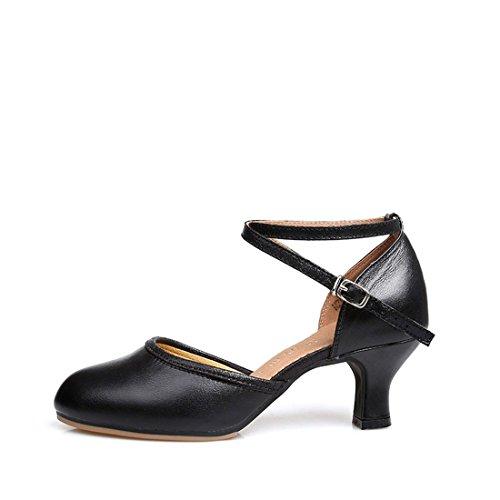 Soft Leather Soft Adult WXMDDN Bottom Dance Dance Black Shoes Shoes Shoes Latin Leather Women's Dancing Ballroom Square Shoes Dance wBn6nHxq